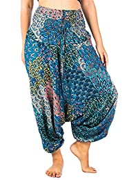 Lofbaz Women's Peacock Roses Aladdin Smocked Waist Bohemian Harem Pants Jumpsuit