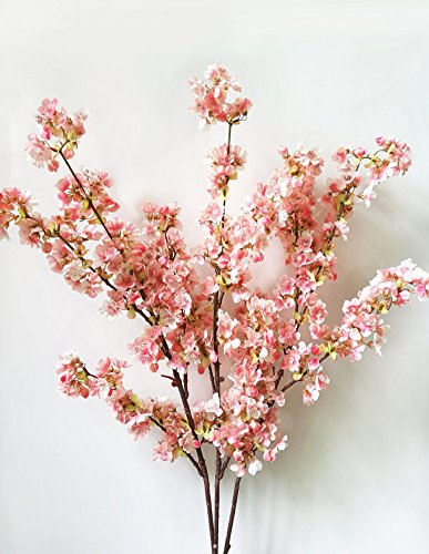 39 Inch Romantic Artificial Branches of Peach Cherry Blossom Silk Flowers Home Wedding Decoration Flower (3 pcs Pink) (Wedding Tree Branches)