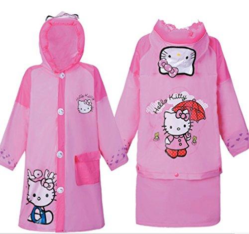 Hello Kitty Baby Children Cartoon Kids Girls Rainproof Long Raincoat Rain suit Poncho Rain Slicker - Toddler S M L XL XXL (L)