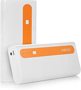 Aibocn Power Bank 10,000mAh External Battery Charger Dual USB Portable Charger with Flashlight (Bright Singal Orange) - Upgraded
