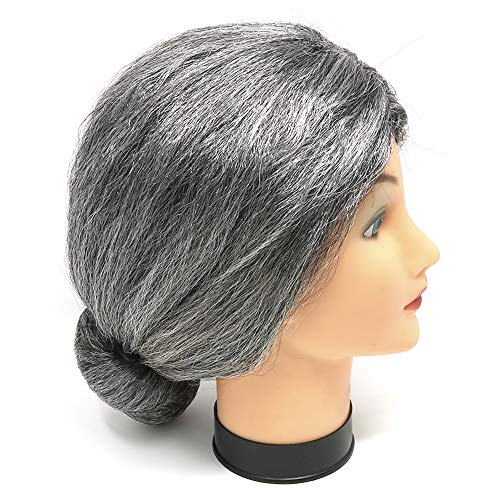 Skeleteen Old Lady Costume Wig - Silver Granny Bun Wig Costume Accessories - 1 Piece]()