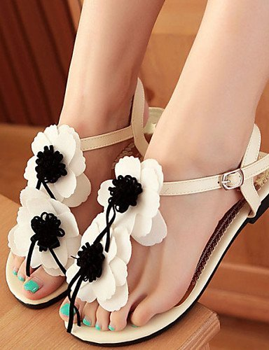 ShangYi Women's Shoes Leatherette Flat Heel Comfort / Open Toe Sandals Dress / Casual Black / Red / Beige