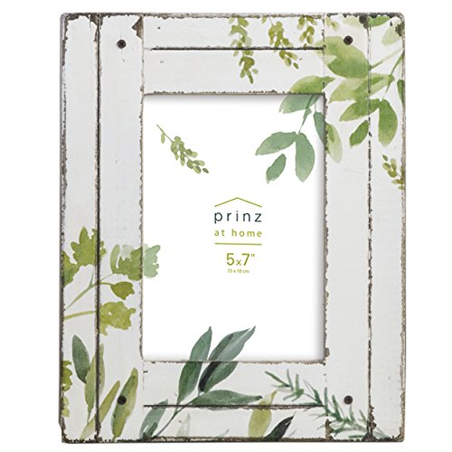 Frame Floral Picture (PRINZ 5x7 Wood Plank Frame with Floral Print Design)