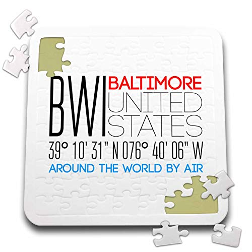 3dRose Alexis Design - Around The World by Air - Elegant Text BWI, Baltimore, United States, Location Coordinates - 10x10 Inch Puzzle (pzl_311075_2) ()