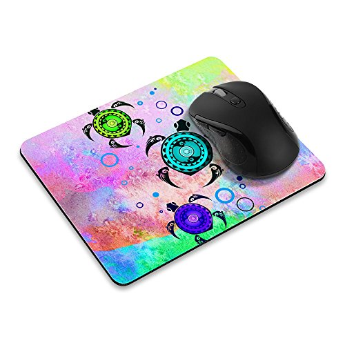 Non-Slip Rectangle Mousepad, FINCIBO Colored Turtles Mouse Pad for Home, Office and Gaming Desk