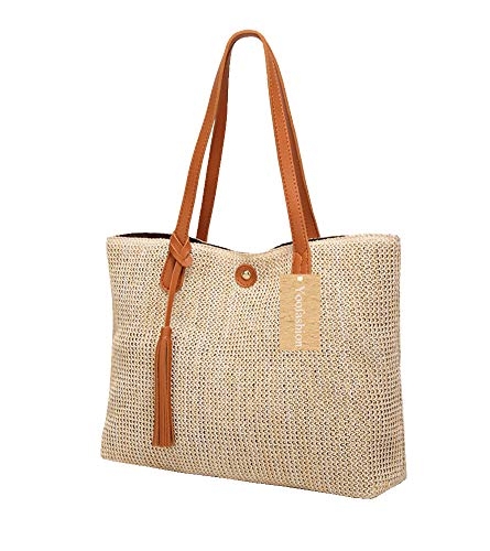Yoofashion Straw Tote Bag for Women Shoulder Bag Summer Beach Bag Girls Fashion Top Handle Handbag ()
