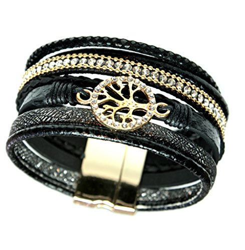 Tree of Life Goldtone Seven Strand Magnetic Clasp Cuff Wrap Bracelet