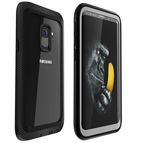 Samsung Galaxy S9 Case ZEAKOC Completely Protection Full Body Clear Bumper Case with Screen Protector for Samsung Galaxy S9(Black)