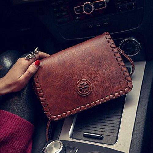 messenger diagonal paquete Hombro bolso bolso de tejida paquete coreano brown Dark diagonal rojo moda retro q8wWC5wH