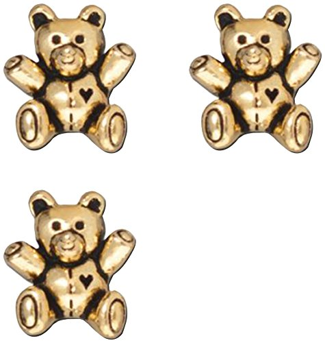 TierraCast Teddy Bear Bead, 13.75mm, Antiqued 22K Gold Plated Pewter, (Pewter Teddy Bears)