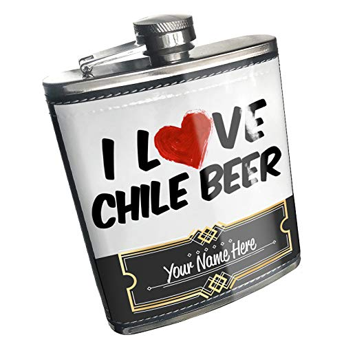 Neonblond Flask I Love Chile Beer Custom Name Stainless Steel ()