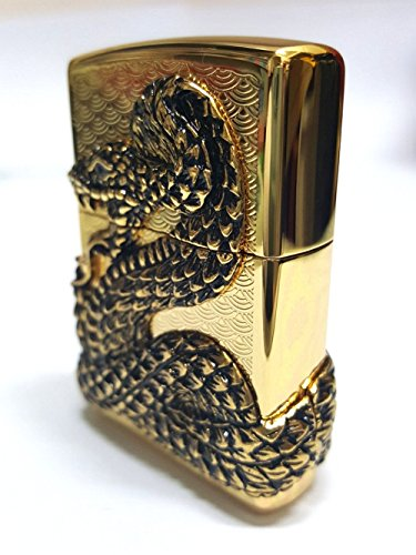 Zippo Snake Coil Gold Lighter / Genuine Authentic / Original Packing (6 Flints set Free Gift) by Zippo (Image #1)