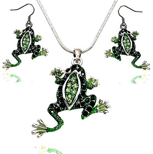 DianaL Boutique Beautiful Emerald Green Frog Pendant Necklace Earrings Set 18
