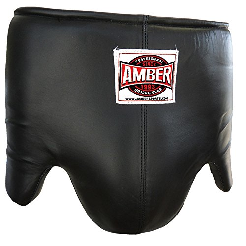 Amber Sporting Goods Mexican Style Professional Boxing Abdominal Guard (Black, Medium)