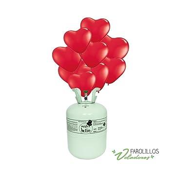Bombona de Helio Desechable Mister Helio + 30 Globos de Corazones Rojos Latex. La botella