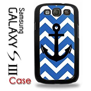Pink Ladoo? Samsung Galaxy S3 Plastic Case - Blue Chevron Pattern with Black Anchor