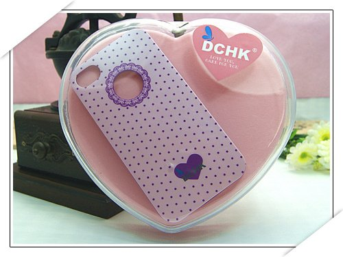 HOT!!! Cute DCHK Sweet Candy Lace Print Around Apple Logo for iPhone 4 4S 4G (PINK POLKA DOTS) ()