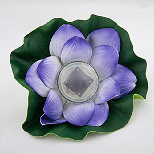 St.Mandyu Waterproof Solar Powered Floating LED Lotus Light, Color-changing Flower Night Lamp /Pond /Garden/House Lights for Pool Party (Purple)