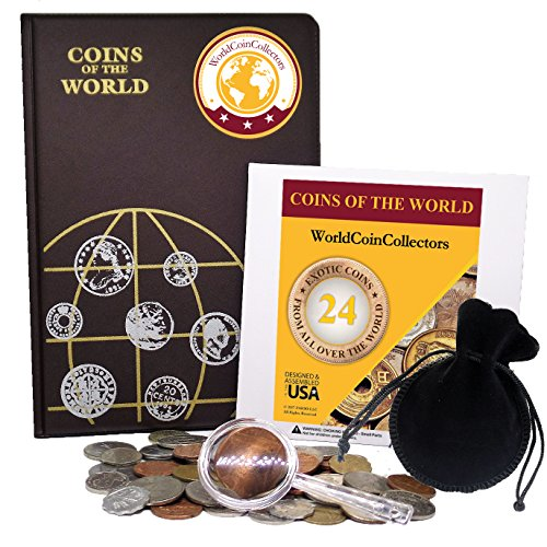 Zaioo World Coin Collectors Starter Kit ♥ 24 Coins from All Over The World + Coin Album + Magnifying Lens + Coin Bag Coins The World Bundle from Zaioo