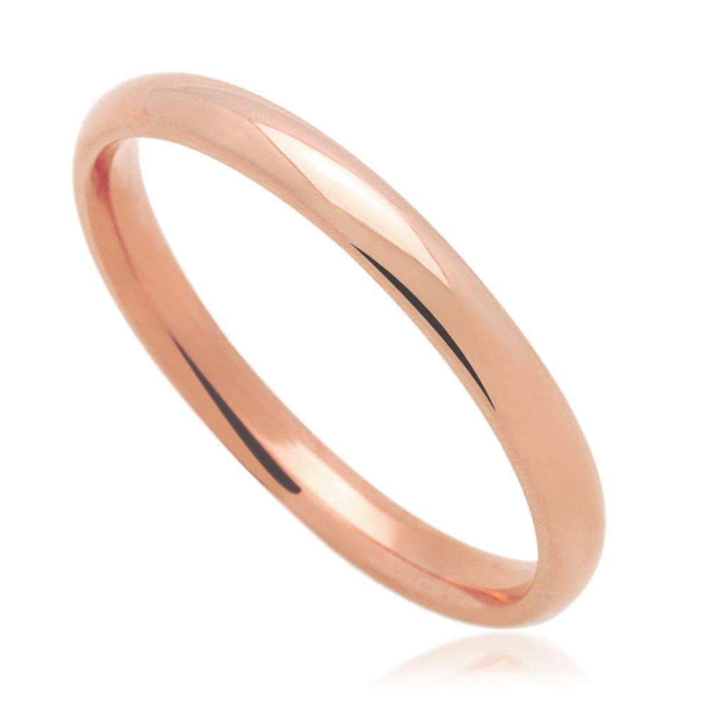 Rose or White Gold 2mm Comfort Fit Classic Domed Plain Wedding Band 14K Yellow Gold Size 3 to 11.5