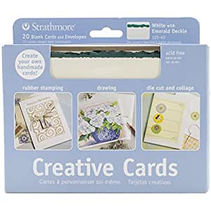 Strathmore STR-105-40 White/Emerald Deckle Card (20 Pack)