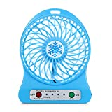 Vinjeely Portable Rechargeable LED Light Fan Air Cooler Mini Desk USB 18650 Battery Fan(Battery not included) (Blue)