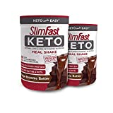 Slimfast Keto Meal Replacement Powder Fudge Brownie Batter, (20 Servings), 2.2 Count - Pack of 2 Canisters