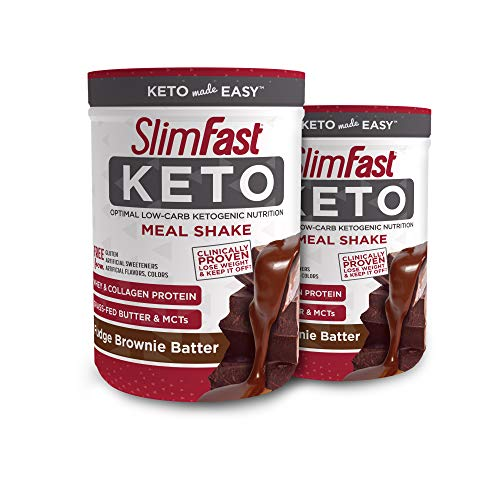 (Slimfast Keto Meal Replacement Powder Fudge Brownie Batter, (20 Servings), 2.2 Count - Pack of 2 Canisters)