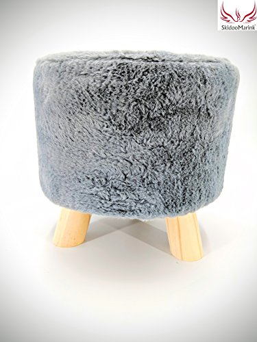 SkidooMarink Small Round Ottoman Foot Rest Vanity Stool Under Desk Short Faux Fur Comfy Footstool Best Kid Chair Cool Furry Step Feet Stool When Potty Wood Leg Perfect for Bedroom ()