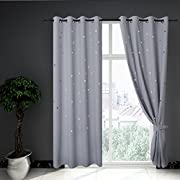 Anjee Kids Curtains for Star Wars Themed Room Décor by, Room Darkening Window Draperies for Light Blocking and Noise Reducing, W52 x L84 Inches, Greyish White