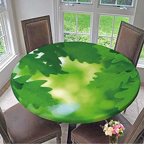 (Mikihome Simple Modern Round Table Cloth Lush and Green Oak Leaves in Early Spring for Daily use, Wedding, Restaurant 47.5