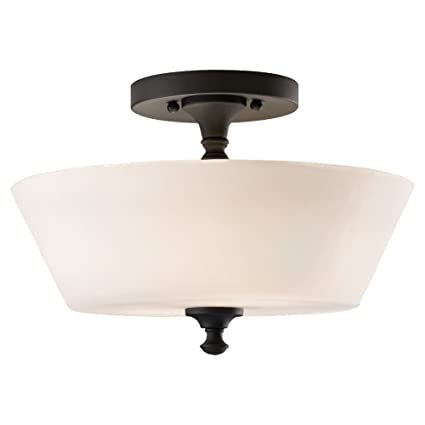 Feiss sf275bk peyton 2 light indoor semi flush mount black