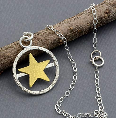 Sterling silver brass star circle necklace