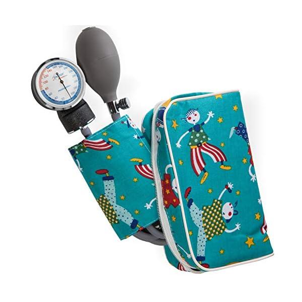 AIESI Esfigmomanometro Tensiómetro Manual Pediatrico Profesional Aneroide clásico con brazalete de colores para ninos DOCTOR PRECISION CHILD ✔ Medidor de presión sanguinea mecánico ✔ Garantía 24 meses 2