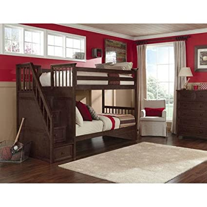 Amazon Com Ne Kids School House Twin Over Twin Stair Bunk Bed In