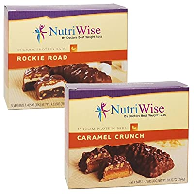 NutriWise - Most Sellers Bars | Caramel Crunch & Rockie Road | Low Calorie, Low Fat, High Protein