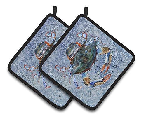 Caroline's Treasures Crab Pair of Pot Holders 8149PTHD, 7.5HX7.5W, Multicolor