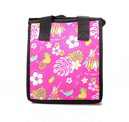 Hawaiian Print Thermal Insulated Zipper Lunch Bag Hula Dancer and Dolphin in Hot Pink Large