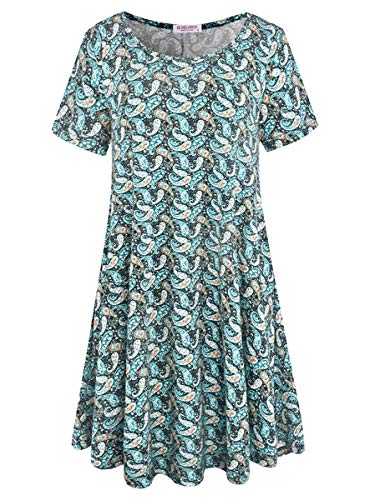BELAROI Women's Summer Tunic Top Floral Print Swing T-Shirt Loose Dress(1X,Green Black)
