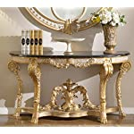"""Meridian Furniture 401-T Versailles Console Table with Traditional Handcrafted Designs and Genuine Marble Top, 60"""" L x 22"""" D x 32"""" H, Rich Gold Finish"""