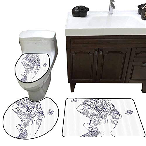 3 Piece Anti-Slip mat Set Girly Decor Young Girl with Tattoos and Butterflies Free Your Soul Inspired Long Hair Feminine Image Elongated Toilet Lid Cover Set Purple White -