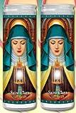 Set of 2 St Claire Clare Prayer Candles 2 Veladoras De Santa Clara