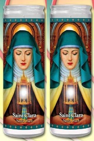 Set of 2 St Claire Clare Prayer Candles 2 Veladoras De Santa Clara (St Francis Of Assisi Candle)