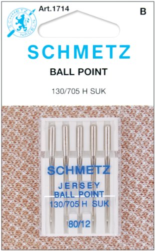 Knit Needle Size - Schmetz 1714C Ball Point Jersey Machine Needles,  Size 80/12, 5-Pack