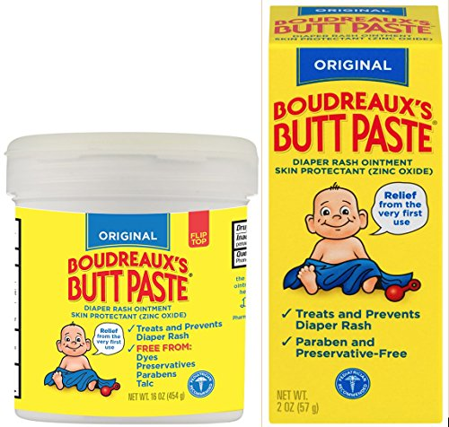 Paste Diaper Rash Ointment Jar (Boudreaux's  Original Butt Paste Diaper Rash Ointment Kit:  16 Ounce Jar + 2 Ounce Tube Included in Kit)