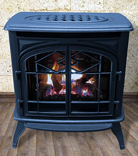 Thelin Echo Direct Vent (NG) Natural Gas or (LP) Propane Heater - Cast Iron Painted in Metallic Blue