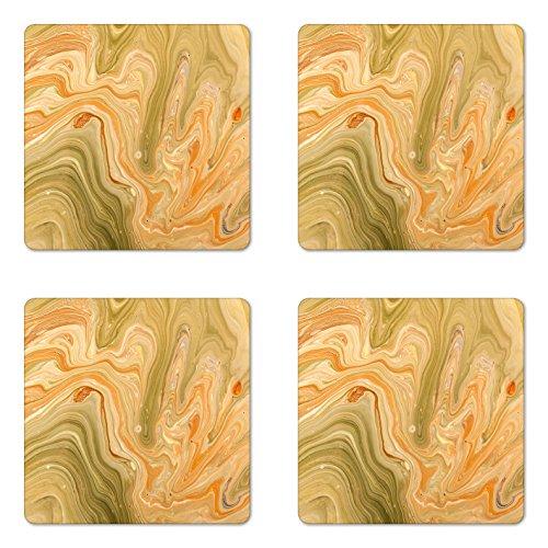 Marble Coaster Set of Four by Lunarable, Antique Ethnic Ottoman Art Ebru Turkish Marbling Modern Artwork, Square Hardboard Gloss Coasters for Drinks, Orange Olive Green Sand (Square Green Marble)
