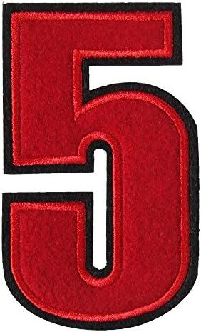 アイロンワッペン 数字 赤 5