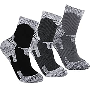 YUEDGE Men's 3 Pairs Wicking Antimicrobial Outdoor Multi Performance Hiking Cushion Socks (Dark Gray/Light Gray/Black),L(Men Shoe 7-11 US Size)
