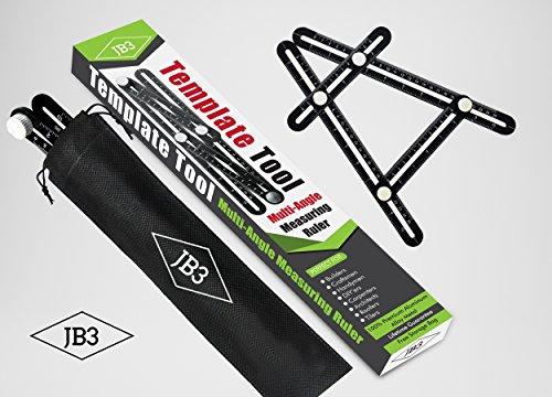 Template Tool - Ultimate Multi Angle Measuring Ruler - Universal Adjustable Angle-izer - Set Any Shape Measurement - Premium Aluminum Metal - For Builders, Craftsmen, DIY'ers - By JB3 - Shops Square Suburban